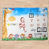 """party club Baby Monthly Milestone Blanket with Name, Girl Boy Large Photography Background Months Newborn Photo Blankets Baby Shower Gifts (Woodland, 40""""x 53"""")"""