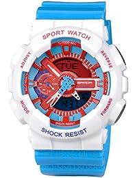 Kid 'sデュアルダイヤルアナログデジタル防水腕時計クロノグラフスポーツ腕時計ホワイト+ブルー