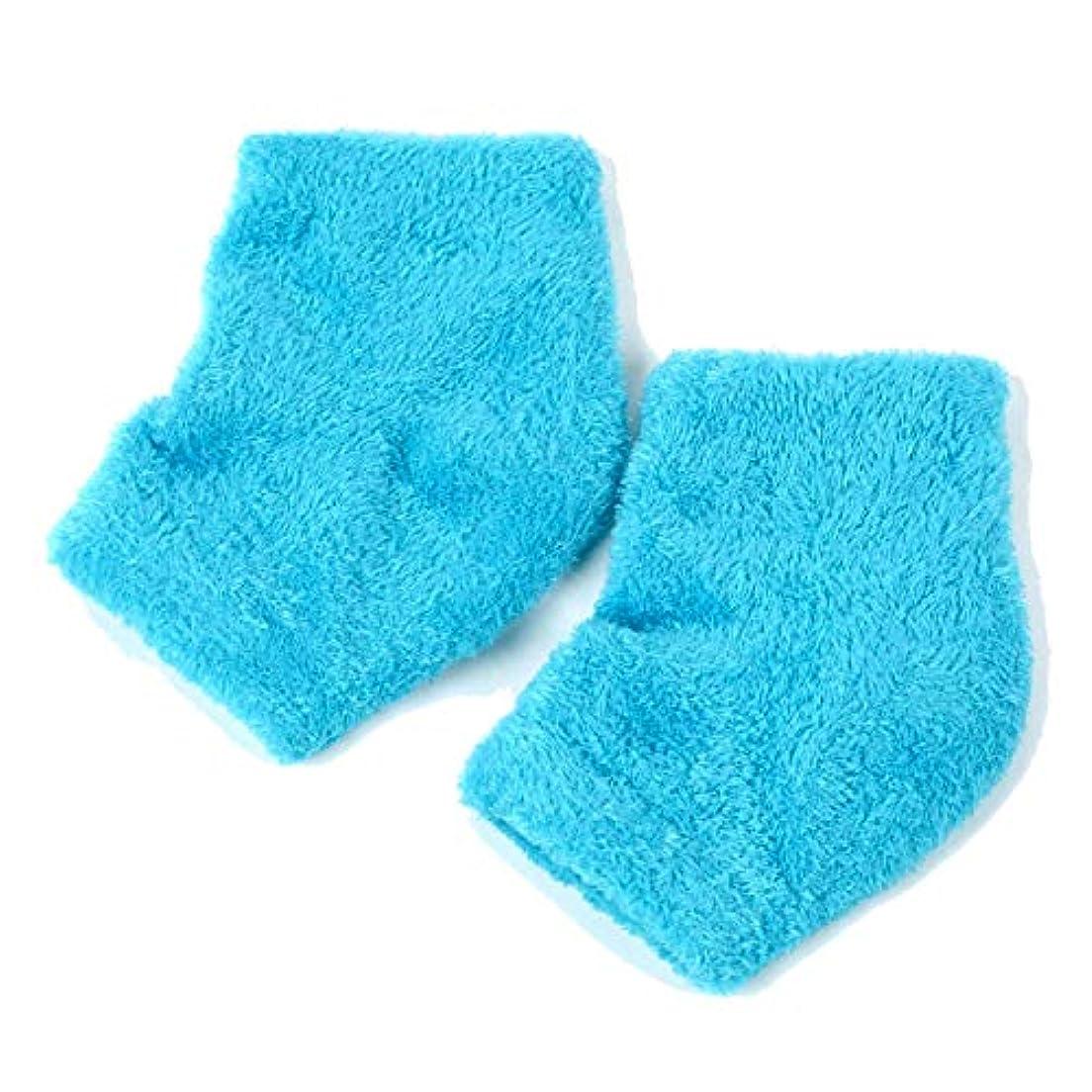 寄り添う子供っぽい波ドットジャパン かかとケア ぷるもこ ジェルソックス サポーター ひび割れ 角質取り 保湿 靴下 フリーサイズ (ブルー)