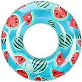 Ninonly 浮き輪 浮輪 大人用 うきわ 水遊び用 スイミング エアーポンプ不要 押すだけ空気入れ 直径100cm 収納ケース付き(西瓜柄)