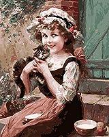 数字によるzddyxペイント家の装飾動物の絵画の女の子とケイティのキャンバスにデジタルDiy絵の油絵による絵画40x50cm(16x20in)