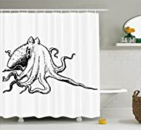 (180cm W By 180cm L, Multi 12) - Ambesonne Octopus Decor Collection, Octopus with Giant Tentacles Underwater Wildlife Sea Creature Illustration Nature Decor, Polyester Fabric Bathroom Shower Curtain Set with Hooks, Black White