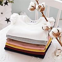女の子 可愛い フリル肩 長袖Tシャツトップス カジュアル ベビー キッズ 子供服