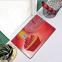 1日目の誕生日玄関マットカーペット太陽光線とパーティーカップケーキローソク足イメージマシンと洗濯機で洗えるドアマットオレンジと赤の抽象的な背景 60x40cm