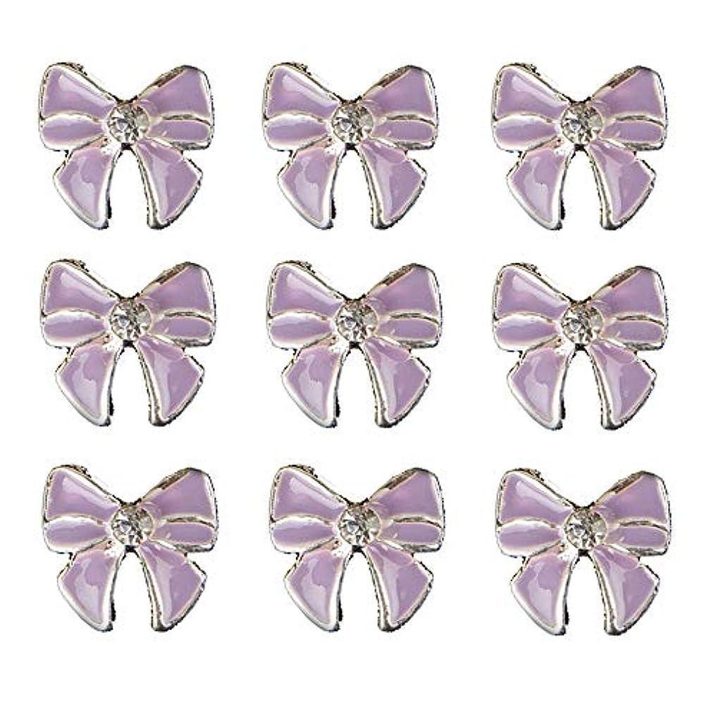 無人鉄道駅杭10個入りの3Dネイル合金デコレーション紫蝶ネクタイのデザイングリッターラインストーンネイルのヒントステッカーネイルツール