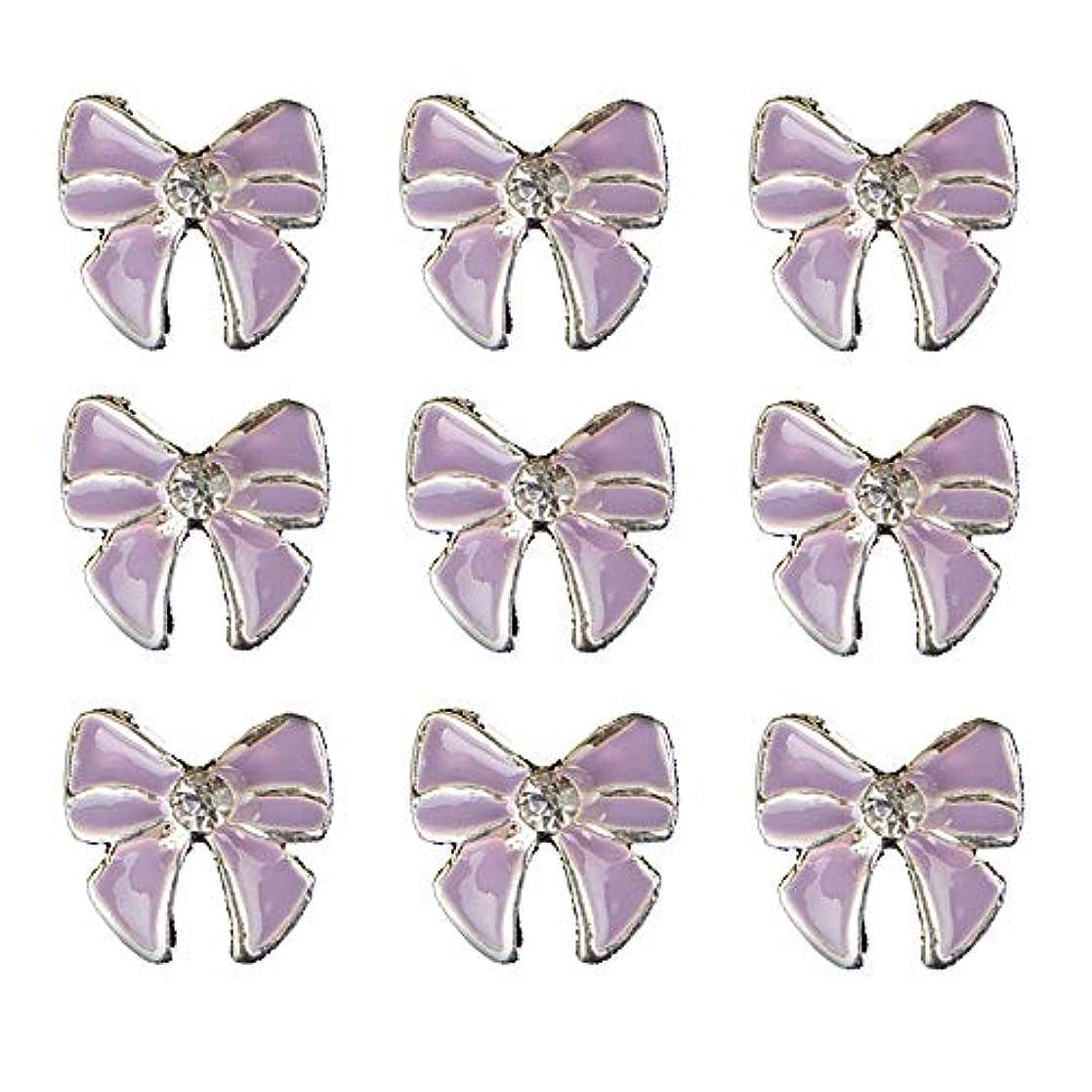 色合いモック出発する10個入りの3Dネイル合金デコレーション紫蝶ネクタイのデザイングリッターラインストーンネイルのヒントステッカーネイルツール