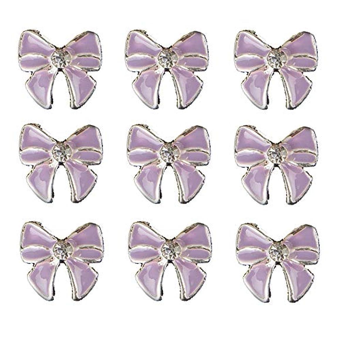 ラウズ悪意ねじれ10個入りの3Dネイル合金デコレーション紫蝶ネクタイのデザイングリッターラインストーンネイルのヒントステッカーネイルツール