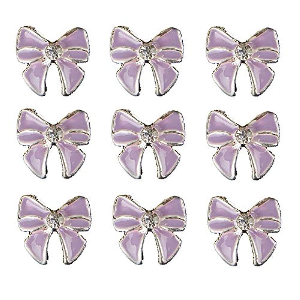 イライラするシンカンタイマー10個入りの3Dネイル合金デコレーション紫蝶ネクタイのデザイングリッターラインストーンネイルのヒントステッカーネイルツール