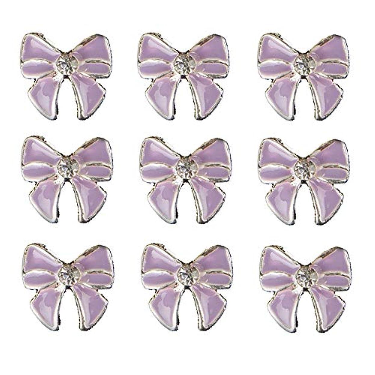 受け入れる刃忠実に10個入りの3Dネイル合金デコレーション紫蝶ネクタイのデザイングリッターラインストーンネイルのヒントステッカーネイルツール