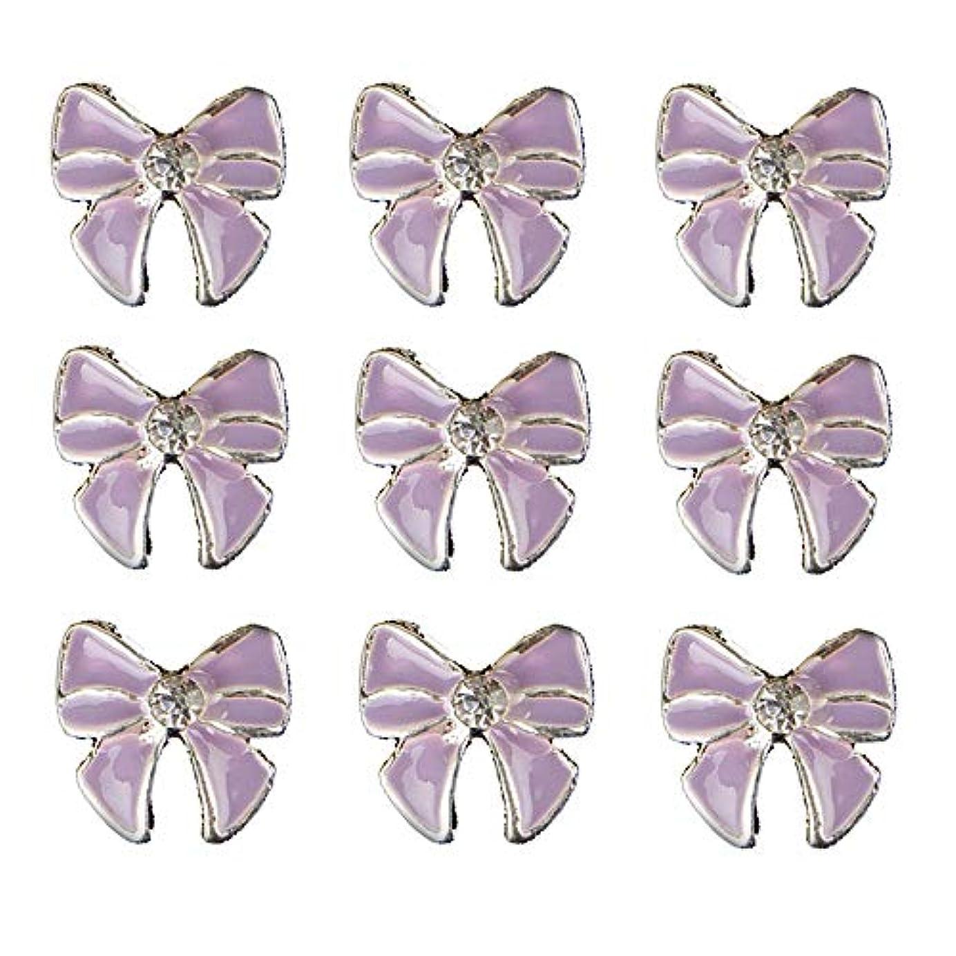 免除つかいますシールド10個入りの3Dネイル合金デコレーション紫蝶ネクタイのデザイングリッターラインストーンネイルのヒントステッカーネイルツール