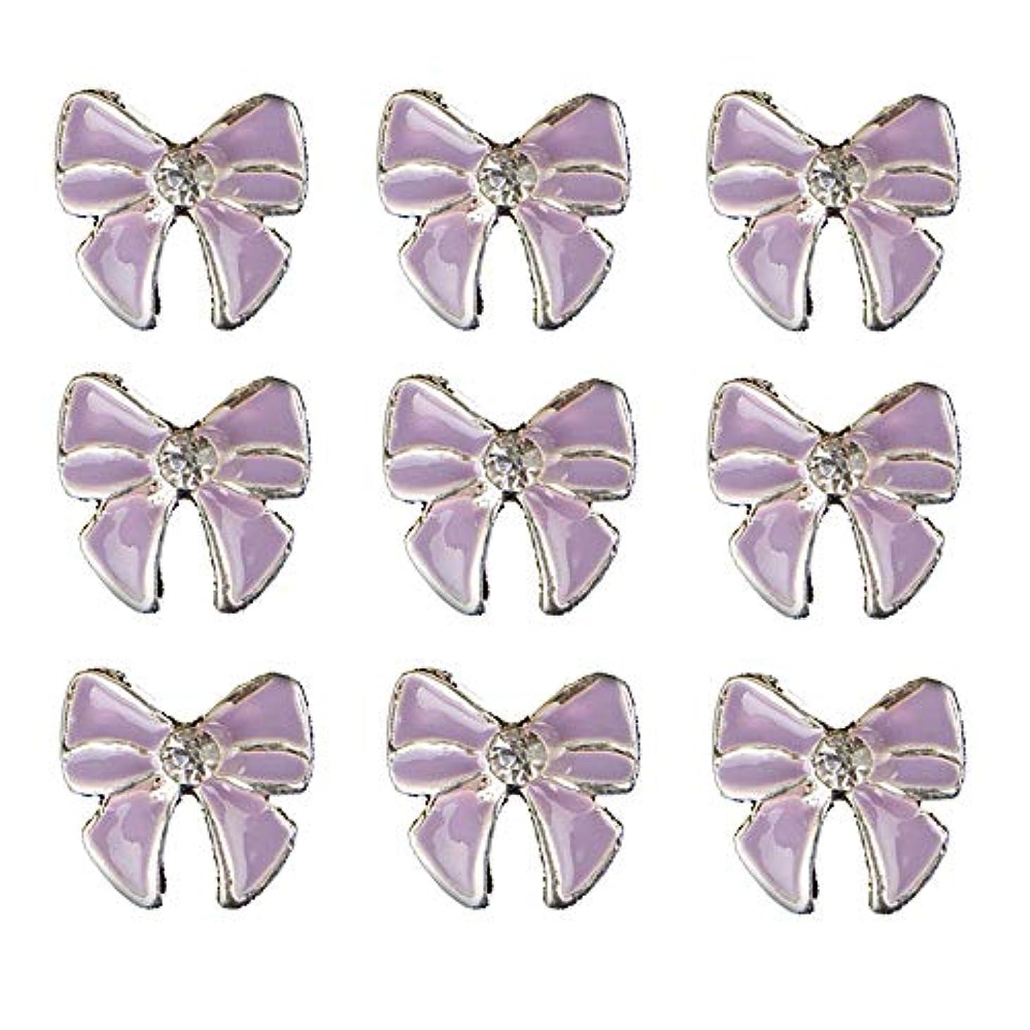 レーダー代わりの画家10個入りの3Dネイル合金デコレーション紫蝶ネクタイのデザイングリッターラインストーンネイルのヒントステッカーネイルツール