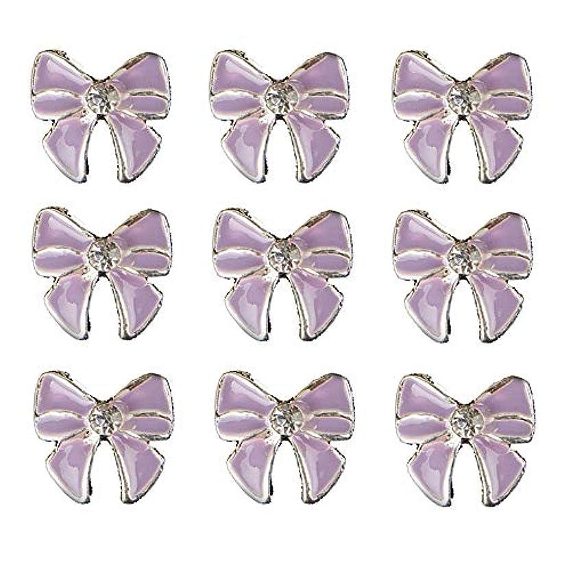 遺伝的柔らかい裸10個入りの3Dネイル合金デコレーション紫蝶ネクタイのデザイングリッターラインストーンネイルのヒントステッカーネイルツール