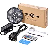 LUMINOSUM LED Strip Lights RGB Kit, 5M (16.4ft) 300LEDs SMD5050 Waterproof, with 44-Key IR Controller and DC12V 5A Power Adapter