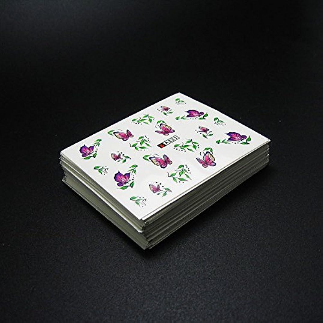 好奇心盛征服者剃る50枚ネイルシールの花混在デザイン水転送ネイルアートステッカーウォーターマークデカールDIYデコレーション美容爪用ツール