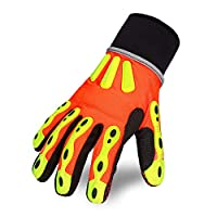 Intra-FIT 作業手袋 作業用手袋 滑り止め 耐摩耗 石油作業 自動車作業 機械操作 耐油 防水 TPR保護 ケブラー繊維 蛍光マーク Mサイズ オレンジ