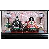 雛人形 ケース飾り コンパクト 親王飾り 間口60cm 黒塗三五親王ケース 舞桜菱三宝道具
