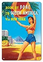 22cm x 30cmヴィンテージハワイアンティンサイン - ニューヨークを経由して南アメリカ - リオ?デ?ジャネイロ、ブラジル - BOAC (英国海外航空) - ビンテージな航空会社のポスター によって作成された ヘイズ c.1950s