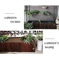 YZWJ 木製フラワーボックス、屋外の植栽ボックス、長方形ソリッドウッドフラワートラフ、バルコニー木製フラワーポット (色 : D)