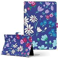 igcase d-01J dtab Compact Huawei ファーウェイ タブレット 手帳型 タブレットケース タブレットカバー カバー レザー ケース 手帳タイプ フリップ ダイアリー 二つ折り 直接貼り付けタイプ 012226 花 花柄 青