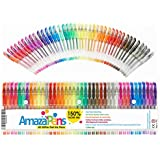 AmazaPens Gel Colouring Pens - 40 Pack Super Glitter | 150% More Ink than Other Sets | Best for Adding Sparkle to Your Adult Colouring Books and Art Projects