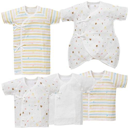 西松屋 5枚組新生児ガーゼ肌着セット(北欧柄)新生児50-60cm 【新生児】 新生児