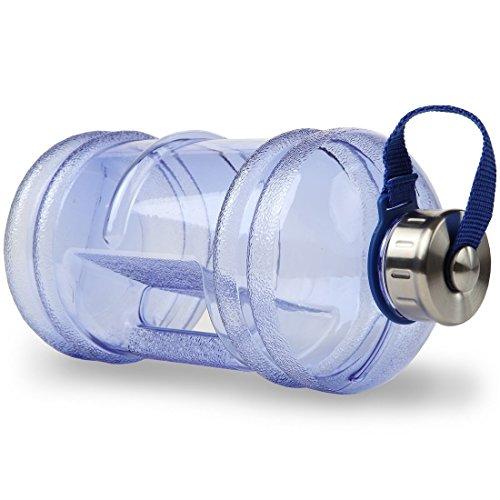 Herryjk 2.2リットルプレミアム品質ウォーターボトル、余分な強くて丈夫な、シリコンシール付きBPAフリー、ステンレススチールキャップ - ジム、プレワークアウト、減量、ボディービルディング、アウトドアスポーツ、ハイキング、オフィス用の飲み物用容器ジャン