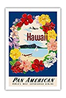 ハワイ - フラワーレイとダイヤモンドヘッドクレーター - パンアメリカン航空 - ビンテージなハワイの旅行のポスター によって作成された A・アムスポーカー c.1959 - アートポスター - 61cm x 91cm