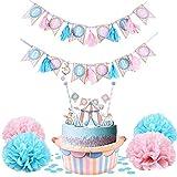 サーカスがテーマの誕生日ベビーシャワーデコレーション、サーカスカップケーキスタンド、カップケーキトッパー、タッセルサークDu ベビーバナーポンポンコンフェッティガールカーニバルパーティー用品、簡単ジョイ