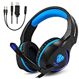 Gintenco Xbox One PS4 Gaming Headset Foldable Ear Headphones with Microphone and LED Lights Surround