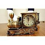 時計 置時計 蒸気機関車 アンティーク クラシック おしゃれ レトロ インテリア (ゴールド)