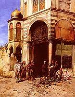 ¥5K-200k 手書き-キャンバスの油絵 - 美術大学の先生直筆 - 5 名画 - Fruitmarket Alberto Pasini アラビア - 絵画 洋画 手描複製画 -06