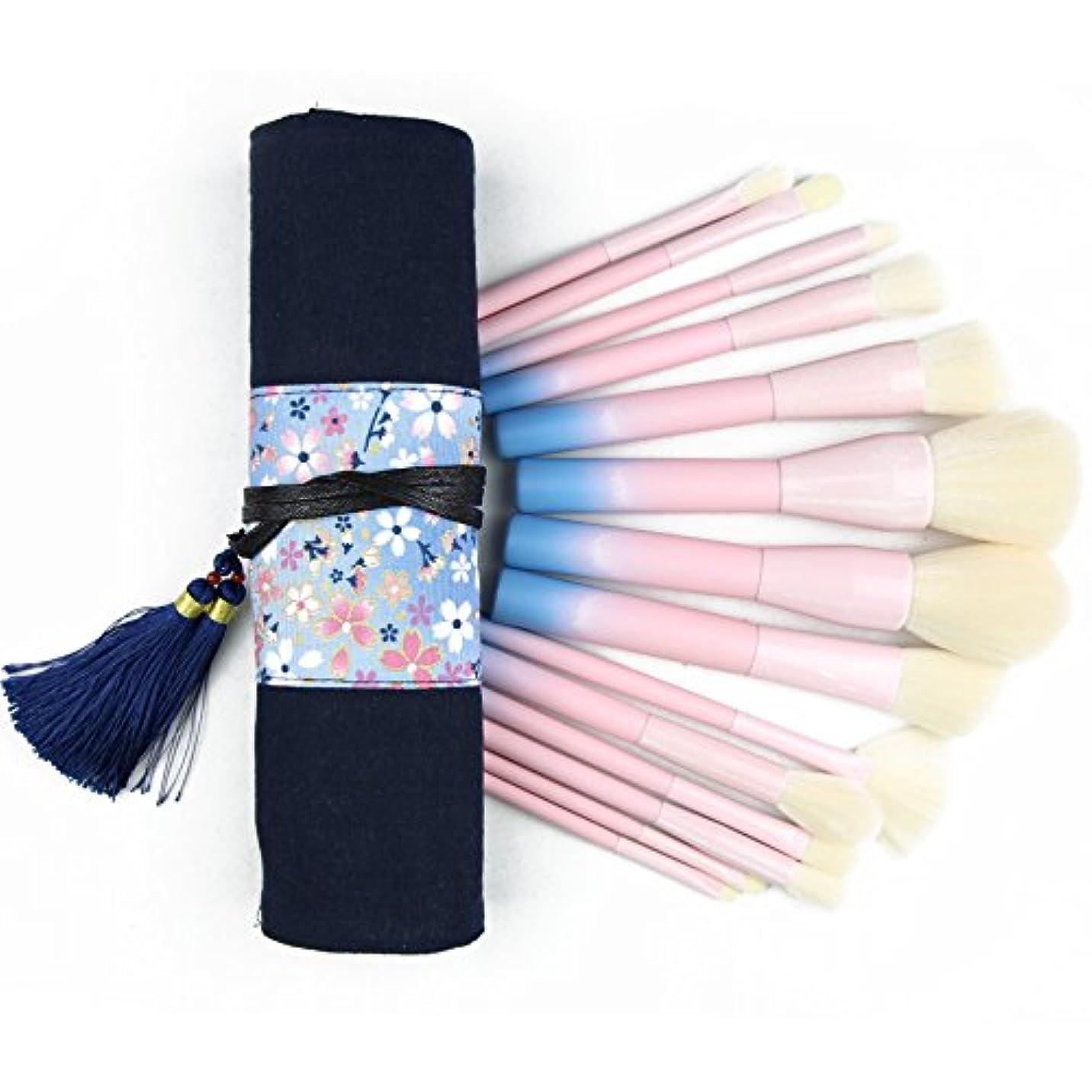 学校教育世界的に家族メイクブラシセット 14本セット 専用手作りの布芸化粧ポーチ付き 粉青グラデーション色 キャンディの色 毛量たっぷり 高級タクロン ローズゴールド
