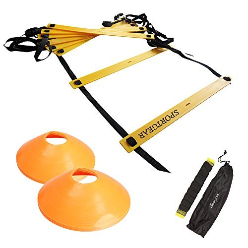 トレーニング ラダー 7m / 5m マーカー コーン 10個 セット !! サッカー など あらゆる スポーツ の 基礎 作りに!! 長さ 調節 可能 ! 収納 袋 付
