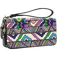 Women Wallet Large Capacity Zipper Purse Clutch Bag Bohemian Card Holder (Geometric)