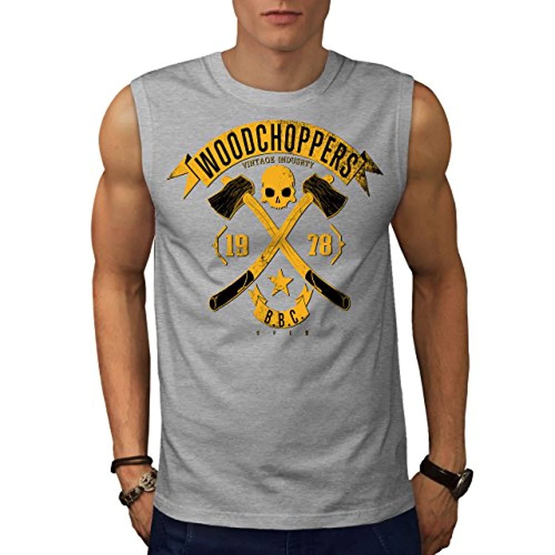 Wellcoda 木材 チョッパー ビンテージ 男性用 S-5XL 袖なしTシャツ