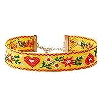 YAZILIND 女性ジュエリー調整可能なチョーカーネックレス中国刺繍リネン合金春と夏のシリアル (黄色)