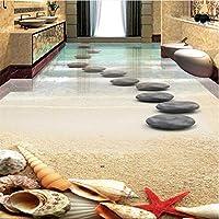 Xbwy 厚くウェアラブルPvc床塗装ビーチヒトデシェル石造りの浴室3D床タイルに貼り付けられた床-280X200Cm