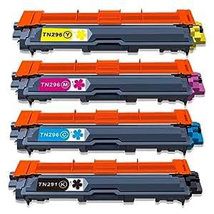 TN-291 TN-296 4色セット (BK/C/M/Y) Toner Kingdom brother ブラザー 純正互換トナーカートリッジ 対応機種:JUSTIO HL-3140CW HL-3170CDW MFC-9340CDW DCP-9020CDW