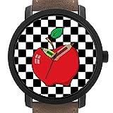 大人のためのギフト|写真大人のためのギフト 子供たち 誕生日 鉛筆形のポインター飾りギフト付きのスタイリッシュなかわいい腕時計 337. 白黒チェッカーボード上の赤リンゴ