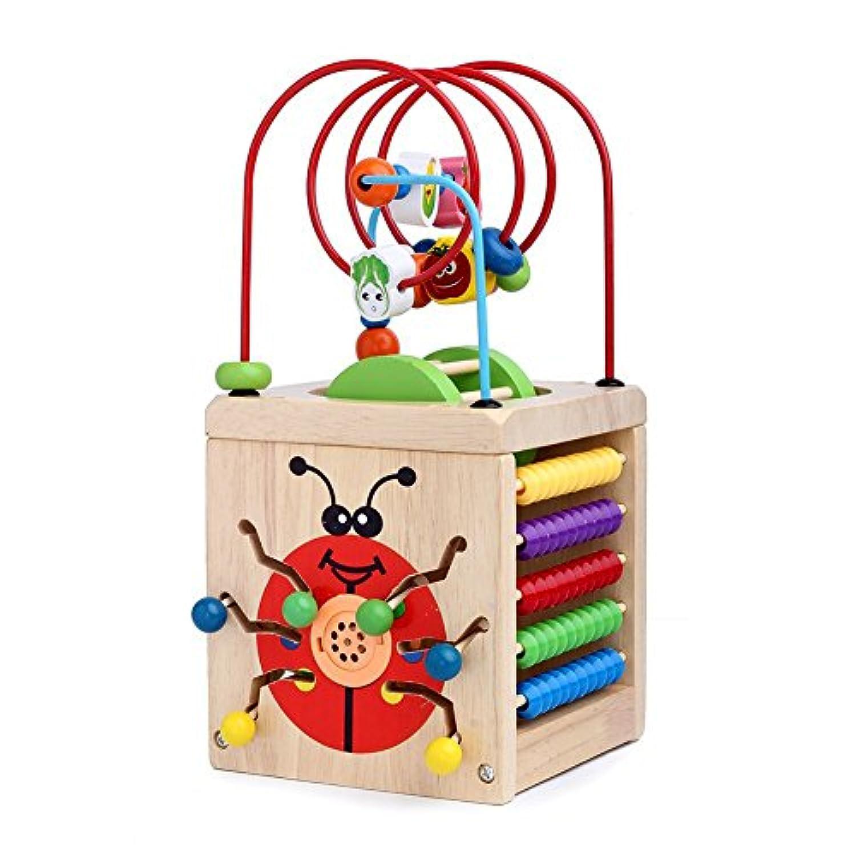 sunshinetimes 7 in 1木製再生キューブアクティビティセンターカラフルな木製円ビーズ迷路教育玩具セット赤ちゃん子供