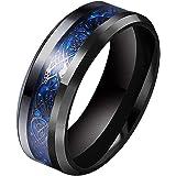 SWOPAN Dragon Ring Men's 8MM Dragon Pattern Beveled Edges Celtic Rings Wedding Bands Ring for Men Women Boy Stainless Steel H