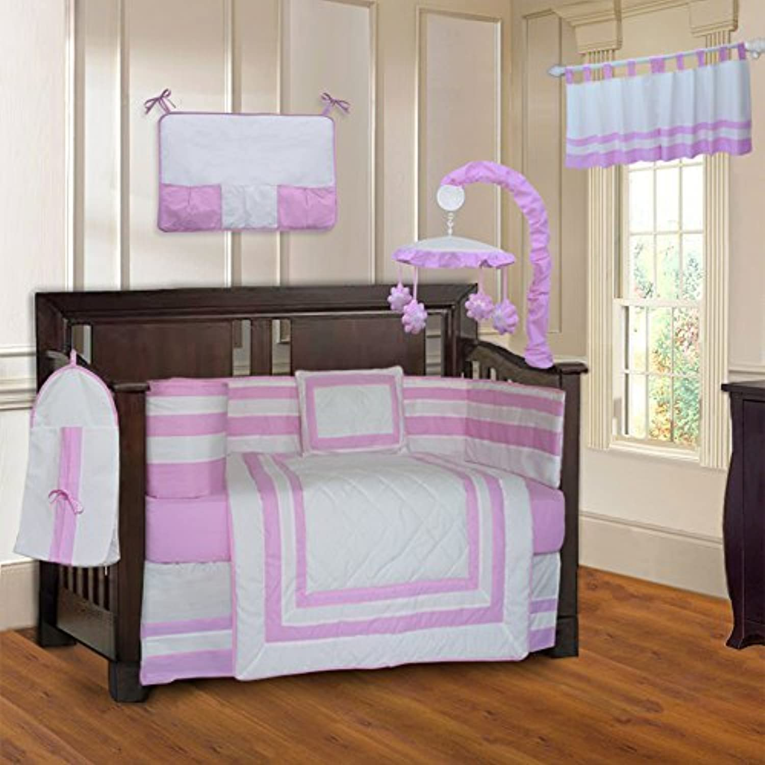 BabyFad Modern Quilted Pink 10 Piece Baby Crib Bedding Set [並行輸入品]