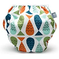 Beau & Belle Littles Nageuret Ultra Premium Reusable Swim Nappy, Adjustable & Stylish Fits Nappy Sizes N-5 For Eco-Friendly Baby Shower Gifts & Swimming Lessons (Fish- Red, Blue, Green)