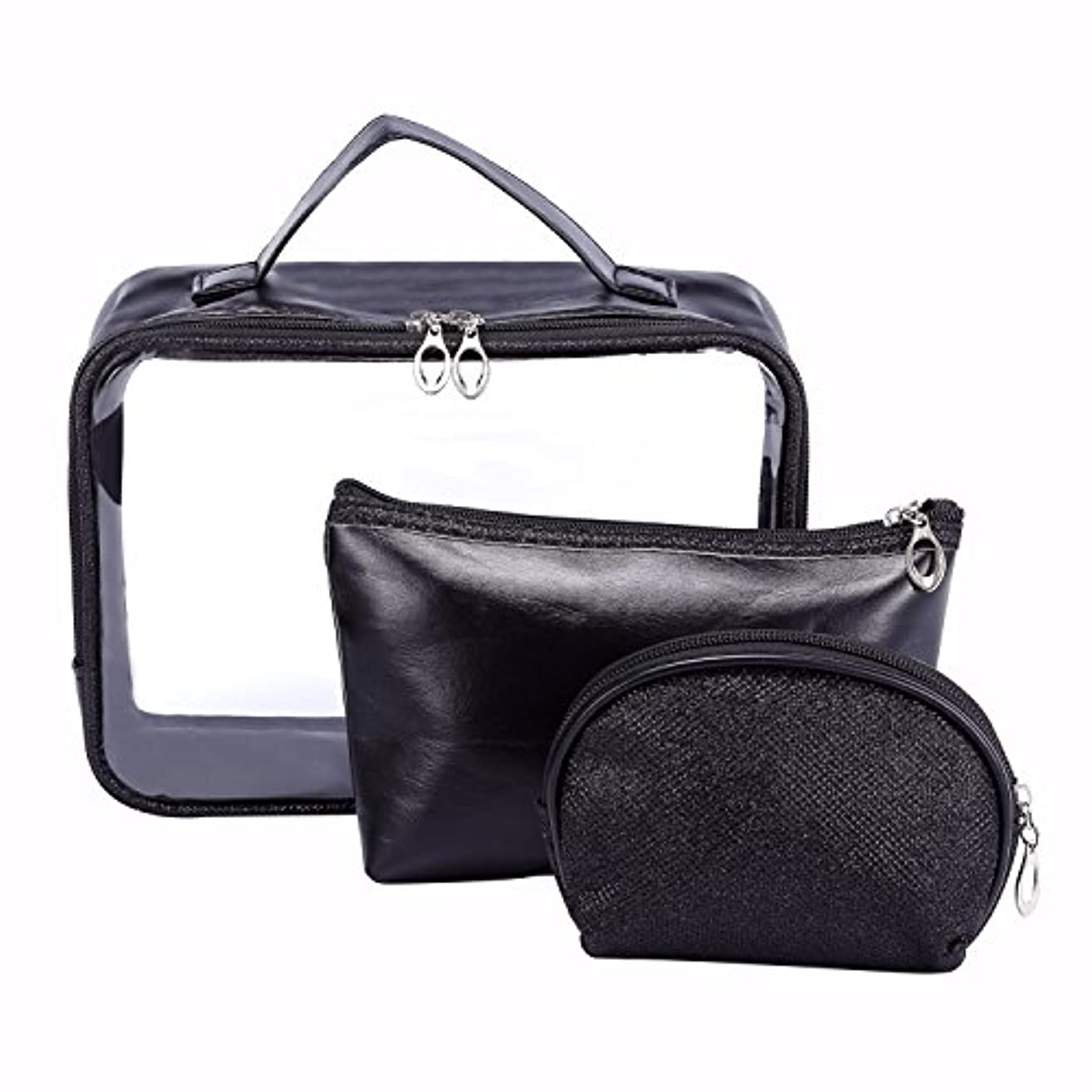 周辺ボイコット州HOYOFO 化粧ポーチ メイクバッグ バッグインバッグ 化粧品 収納 透明 雑貨 小物入れ 持ち運び可 超軽 防水 旅行 3点セット ブラック