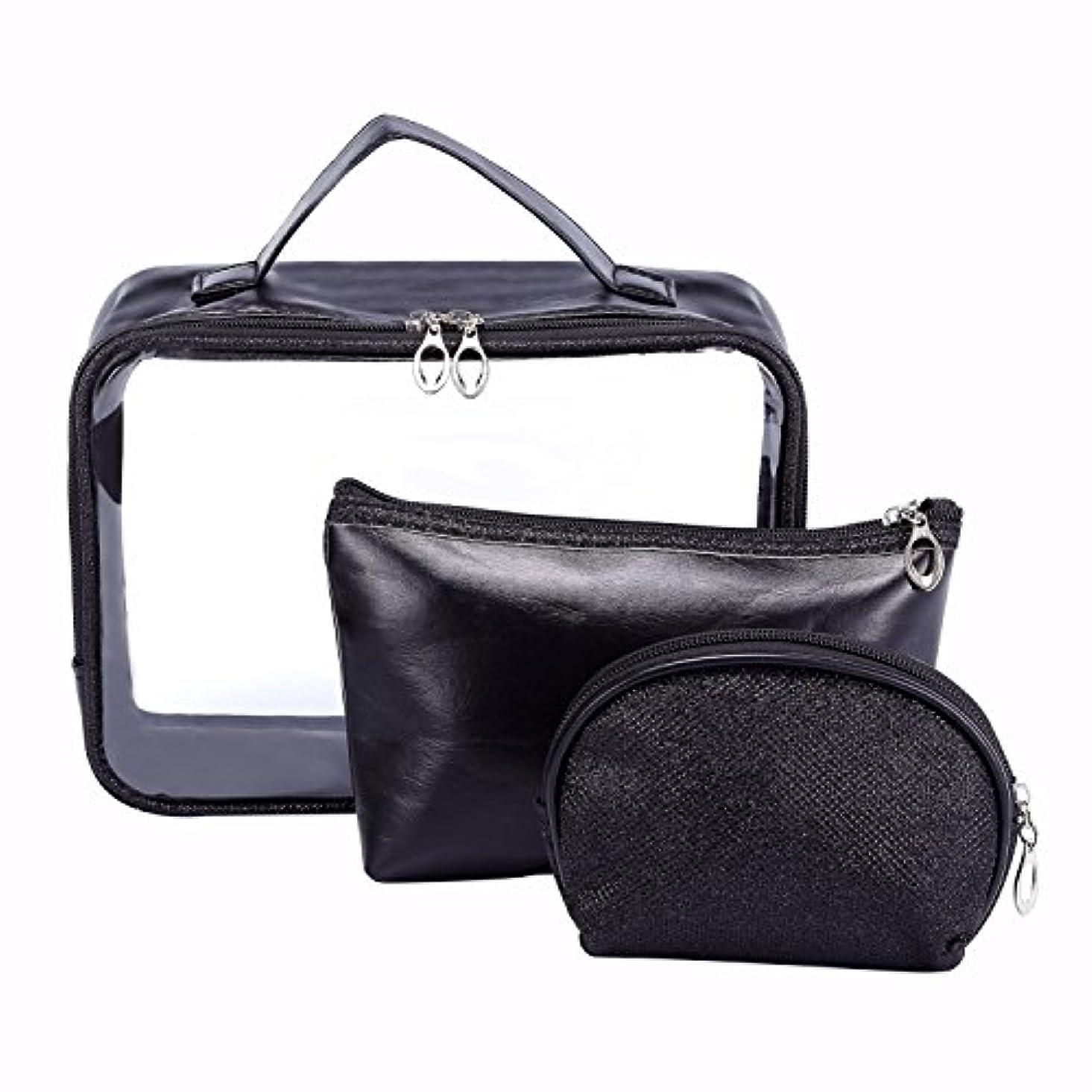 簡単に文字通り自治HOYOFO ビニールポーチ 化粧ポーチ メイクバッグ バッグインバッグ 化粧品 収納 透明 雑貨 小物入れ 持ち運び可 超軽 防水 旅行 3点セット ブラック
