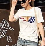 [ノーブランド品]胸とブラが見えてる おっぱいTシャツ 3D おもしろプリント Lサイズ Ts_001
