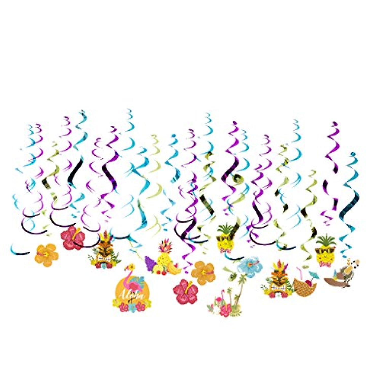 Prettyia 約30個 渦巻きバナー パーティー 装飾 ハイビスカスの花 ココナッツ  フラミンゴ デザイン ビーチパーティー