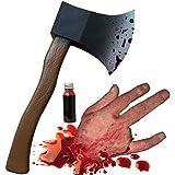ハロウィン 超 リアル 血 まみれの 切断された 手 凶器 の 斧 血糊 遮光防水バッグ セット <鮮血色>