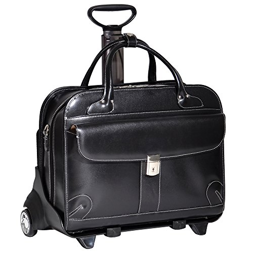 McKlien 96615 Lakewood 96615- Black Leather Fly-Through Checkpoint-Friendly Detachable-Wheeled Ladies Briefcase