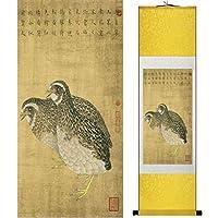 伝統的な鳥と花の絵を描く,Yellowpackage,140cmx45cm